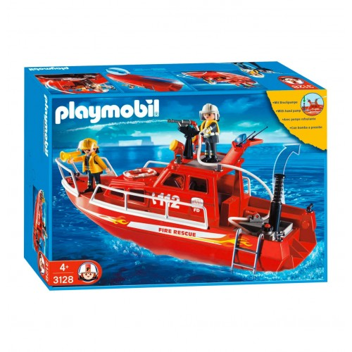3128 boat rescue firefighters with water hose - Playmobil Germany