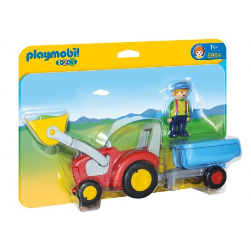 6964 tractor with trailer 1.2.3 - Playmobil