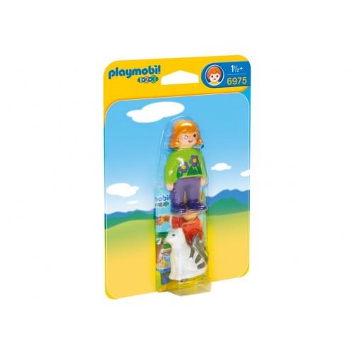 6975 donna con gatto 1.2.3 - Playmobil