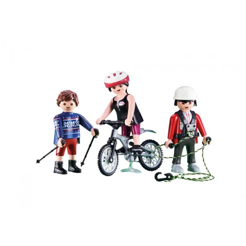 6396 - 3 Deportistas Montaña - Mountan Bike Rápel Senderista - Playmobil
