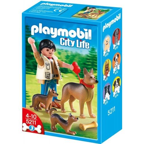 5211 - Pastor Alemán con Cachoros y Cuidador - Playmobil