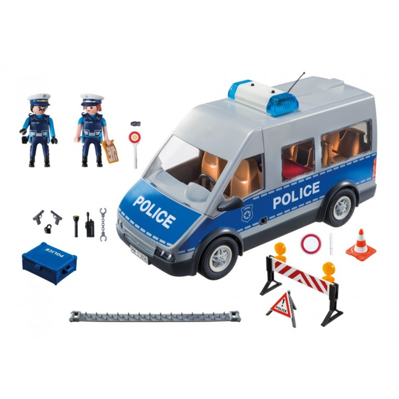 9236 furgoneta polic a con barricada playmobil. Black Bedroom Furniture Sets. Home Design Ideas