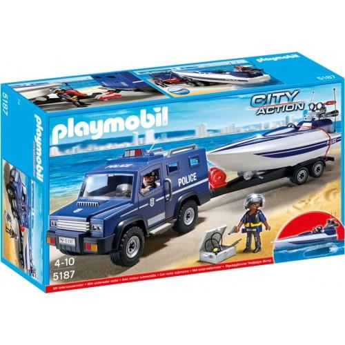 5187 - Coche de Policía con Lancha a Motor - Playmobil