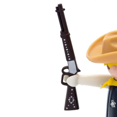 Brown shotgun decorated silver Rifle West - Playmobil